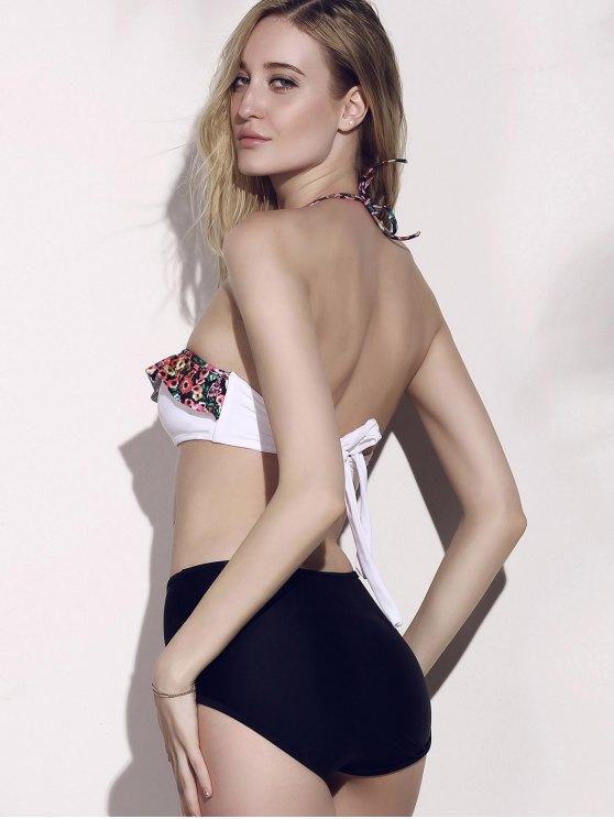High Waisted Tiny Floral Print Bikini - BLACK XL Mobile