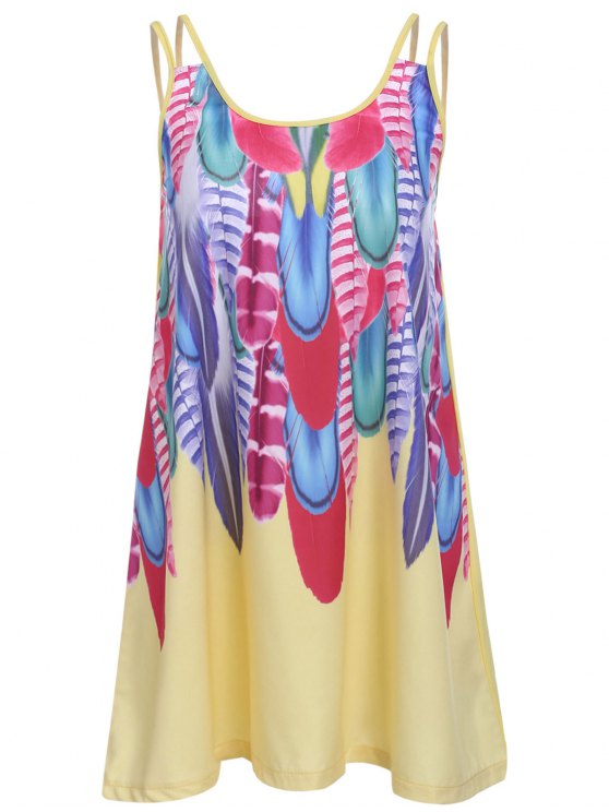latest Feather Print Cami Dress - YELLOW L