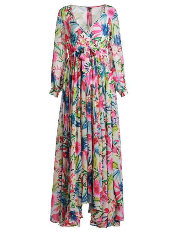 women Full Floral Long Sleeve Maxi Dress - COLORFUL S