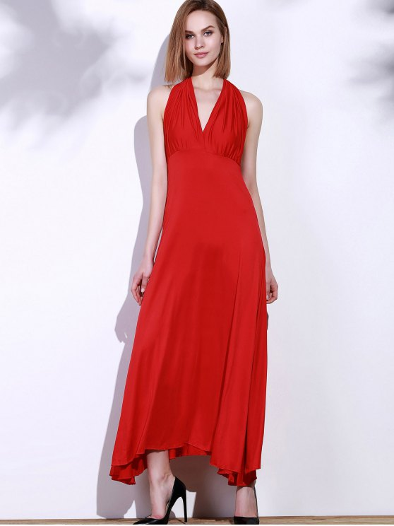 Backless Convertible Maxi Dress - RED S Mobile