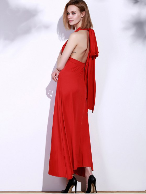 Backless Convertible Maxi Dress - RED M Mobile
