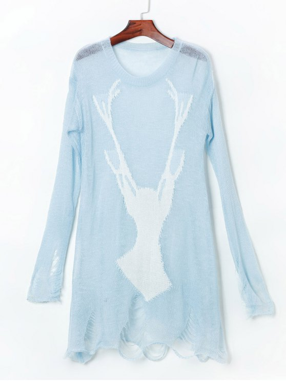 fancy Ripped Open Knit Reindeer Sweater - LIGHT BLUE ONE SIZE(FIT SIZE XS TO M)