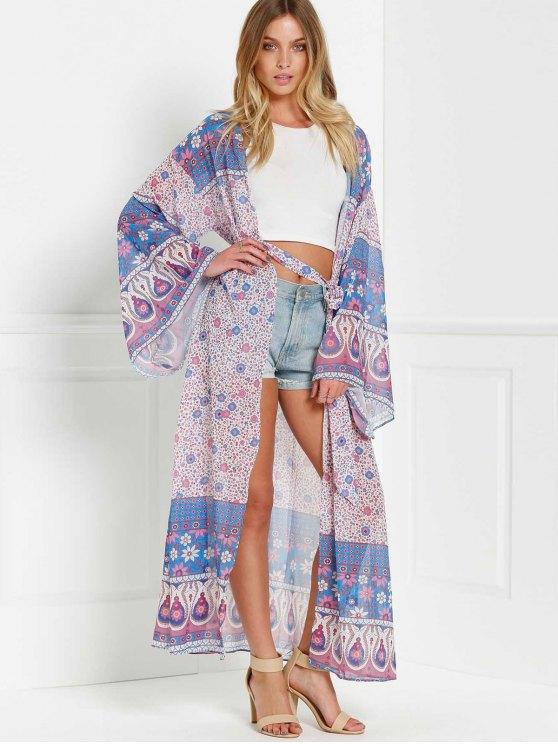 Wrap Tie Printed Kimono Blouse - PURPLE ONE SIZE(FIT SIZE XS TO M) Mobile