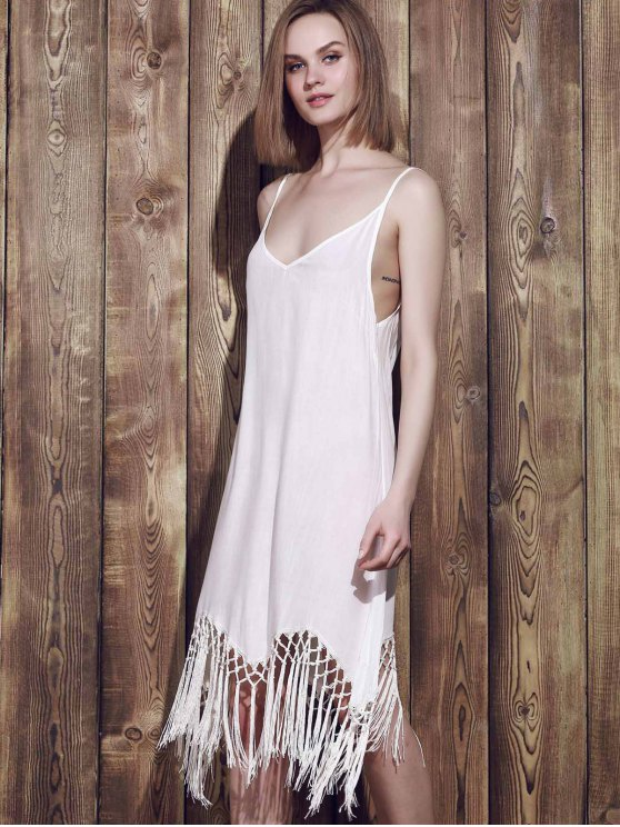 Fringed Cami Slip Dress - WHITE S Mobile