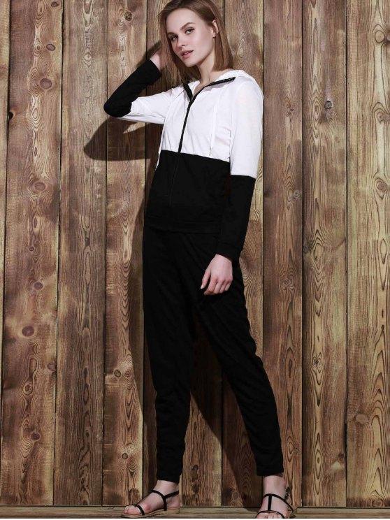 Color Block Hoodie and Sweatpants Sweat Suit - BLACK S Mobile