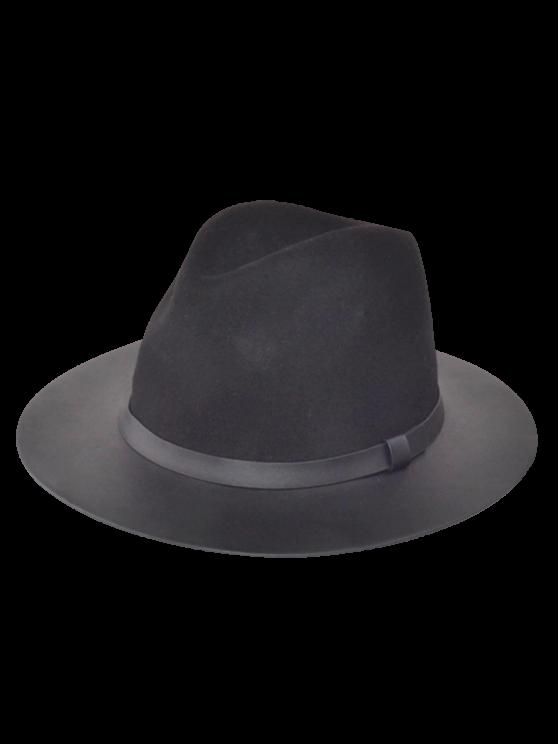 affordable Winter Larger Brimmed Fedora Bowler Hat - BLACK