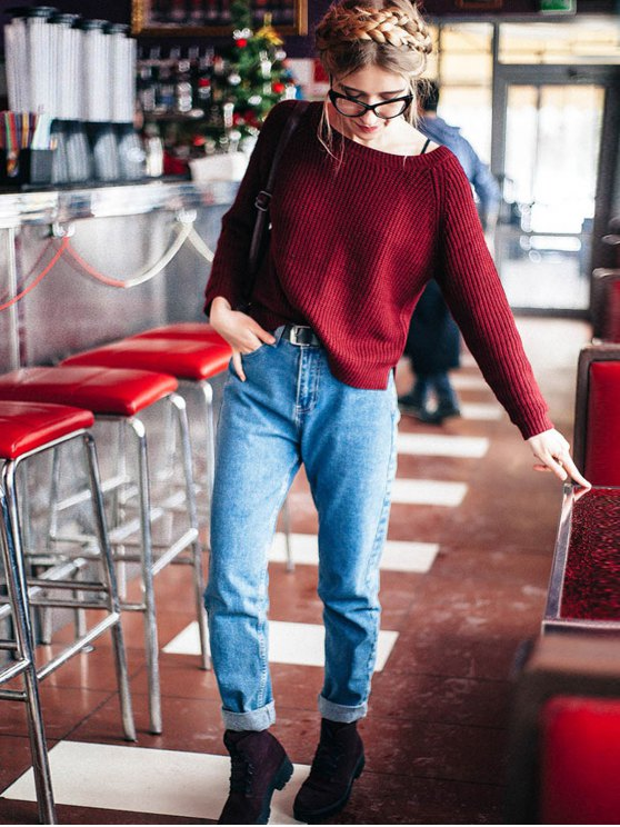 Boat Neck Loose Sweater - WINE RED ONE SIZE(FIT SIZE XS TO M) Mobile