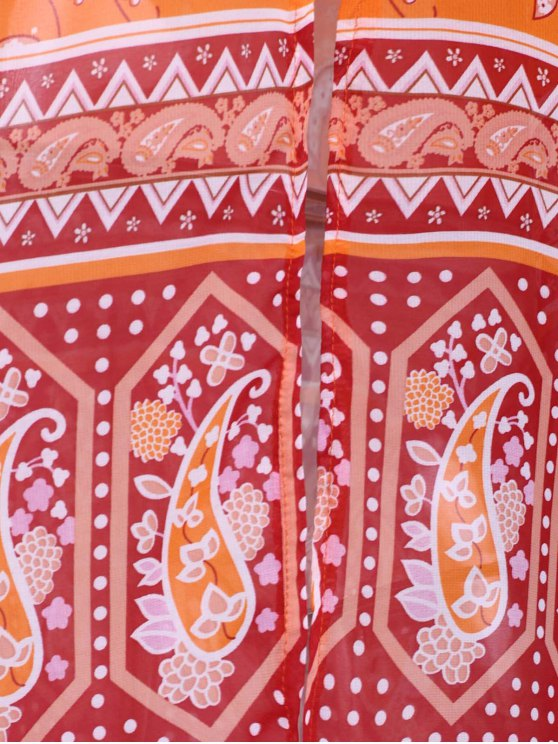 Paisley Print 3/4 Sleeves Kimono - ORANGE XL Mobile
