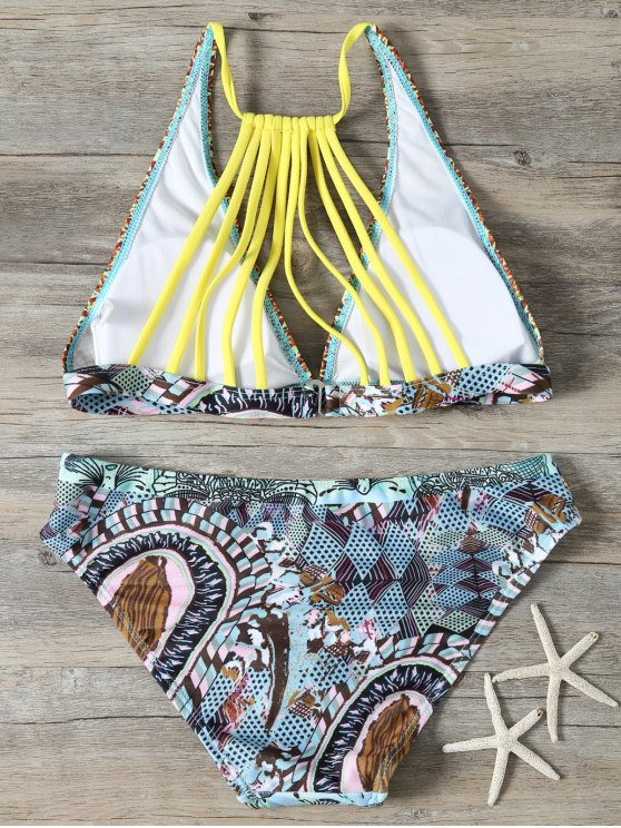 Plunge Strappy Back Printed Bikini - MULTICOLOR M Mobile