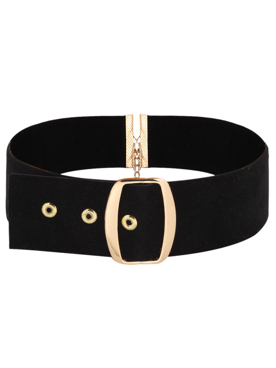 latest Adorn Faux Leather Velvet Choker Necklace - BLACK
