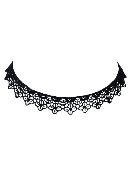 latest Lace Floral Hollow Out Choker - BLACK