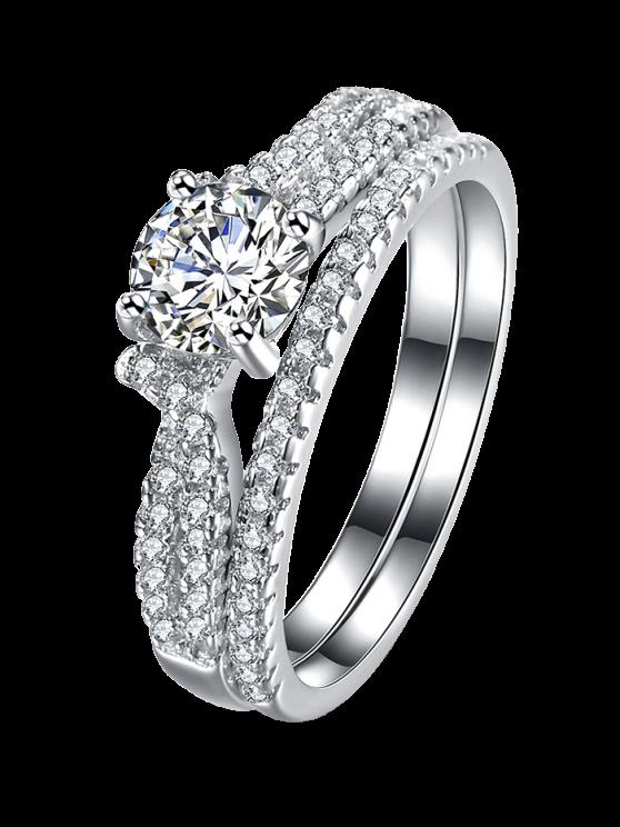 S925 Diamond Round Ring Set -   Mobile