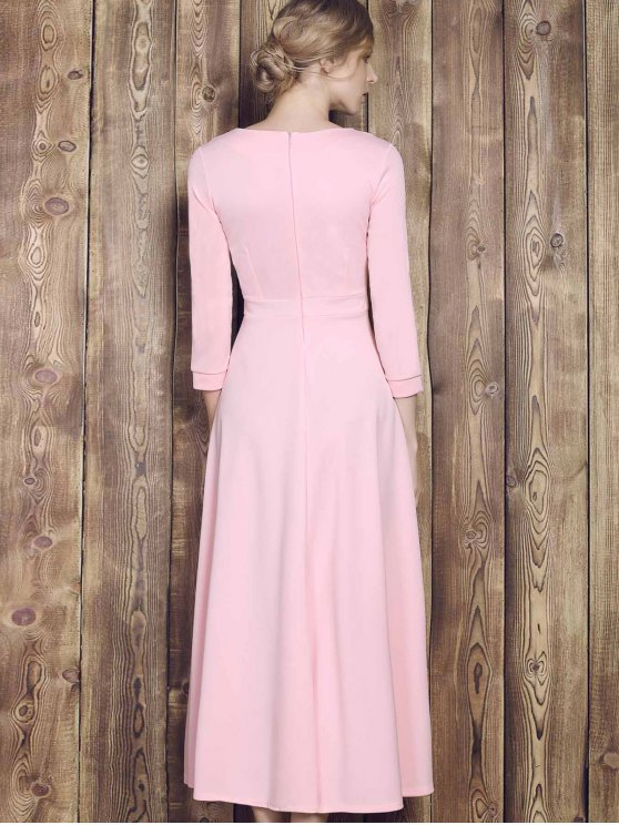 Fit and Flare Maxi Dress - PINK S Mobile