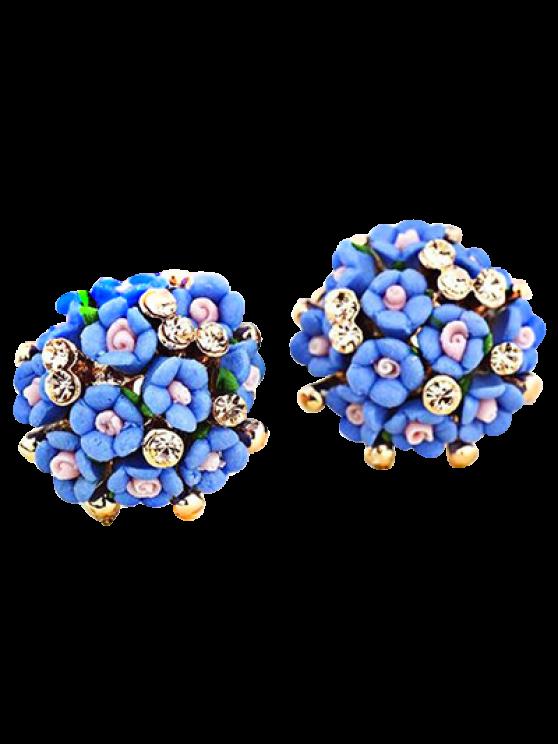 sale Blue Tiny Floral Earrings - BLUE