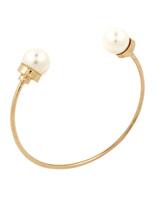 fancy Faux Pearl Alloy Beads Cuff Bracelet - GOLDEN
