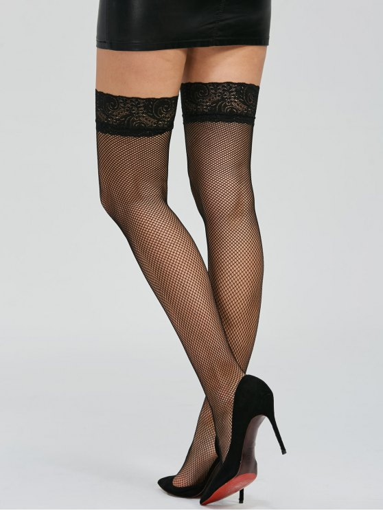 Over Knee Lace Panel Fishnet Stockings - BLACK ONE SIZE Mobile