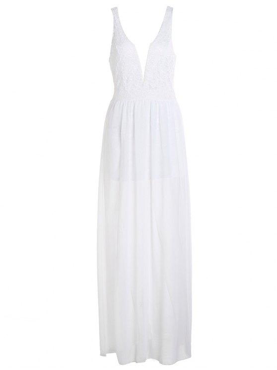 sale Crochet Flower Chiffon Prom Plunge Dress - WHITE XL