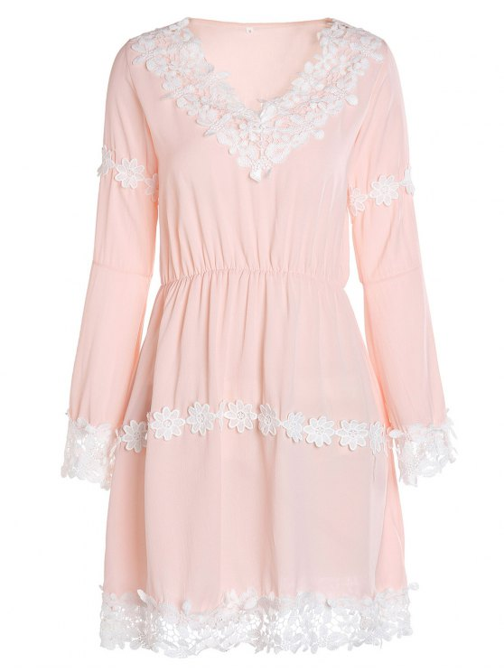 Crochet Floral Applique Chiffon Dress - PINK S Mobile