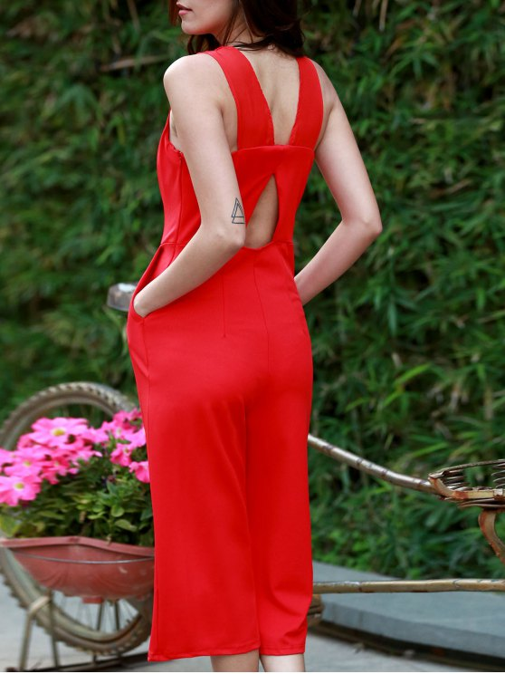 Plunging Neck Wide Leg Cropped Jumpsuit - RED M Mobile