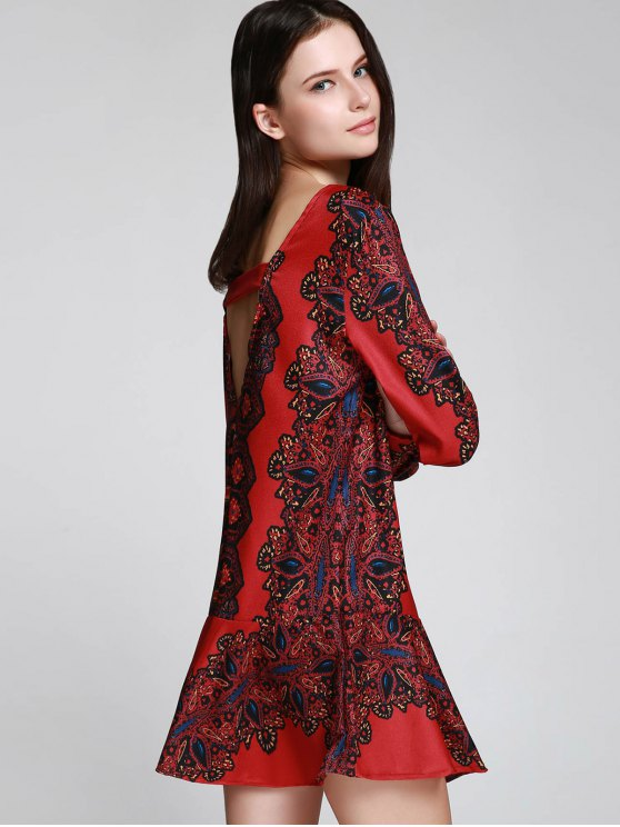 Long Sleeve Printed Tunic Dress - RED S Mobile