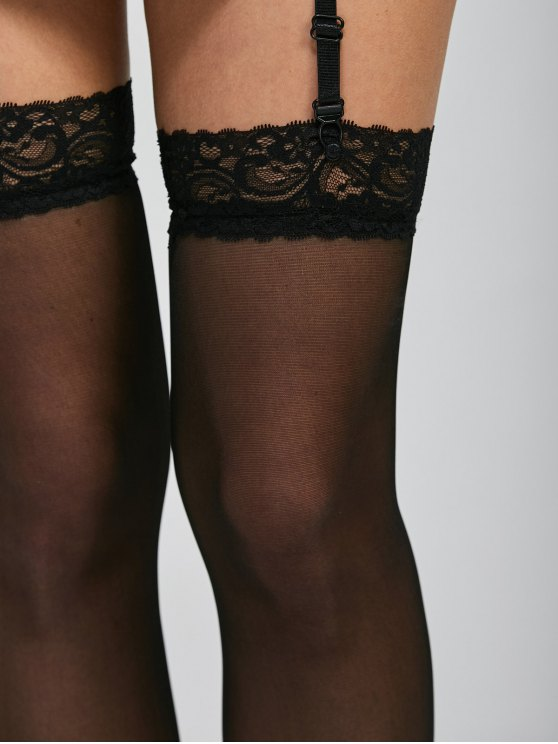Lace Insert See Thru Over Knee Garter - BLACK ONE SIZE Mobile