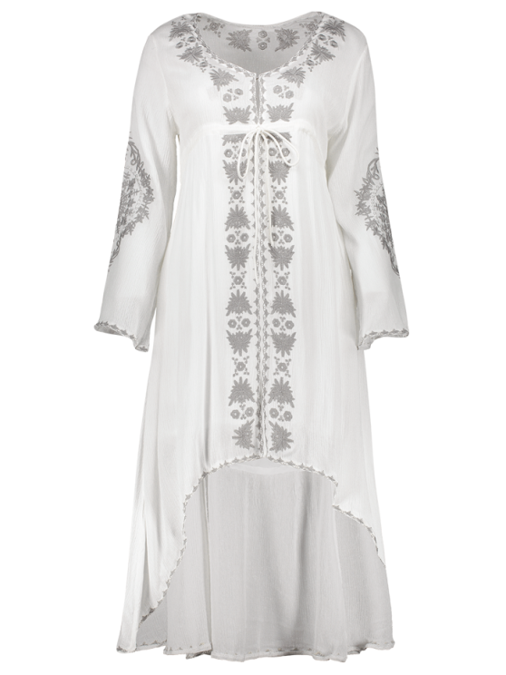 High-Low Hem V-Neck Long Sleeve Embroidery Dress - WHITE S Mobile