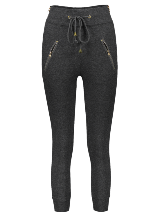 Zip Embellished Drawstring Jogger Pants - DEEP GRAY M Mobile