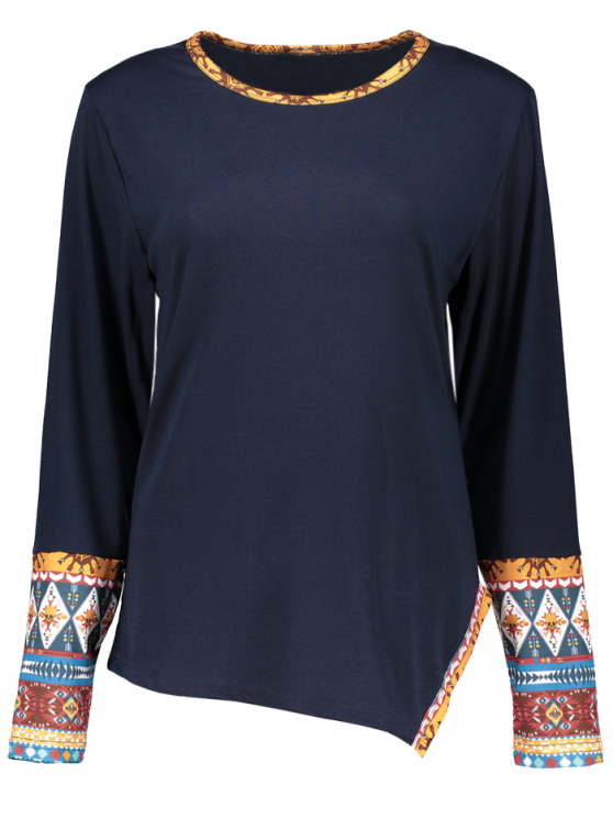 Asymmetric Tribal Print Tee - CADETBLUE M Mobile