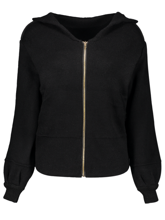 Zippered Hooded Cardigan - BLACK ONE SIZE Mobile