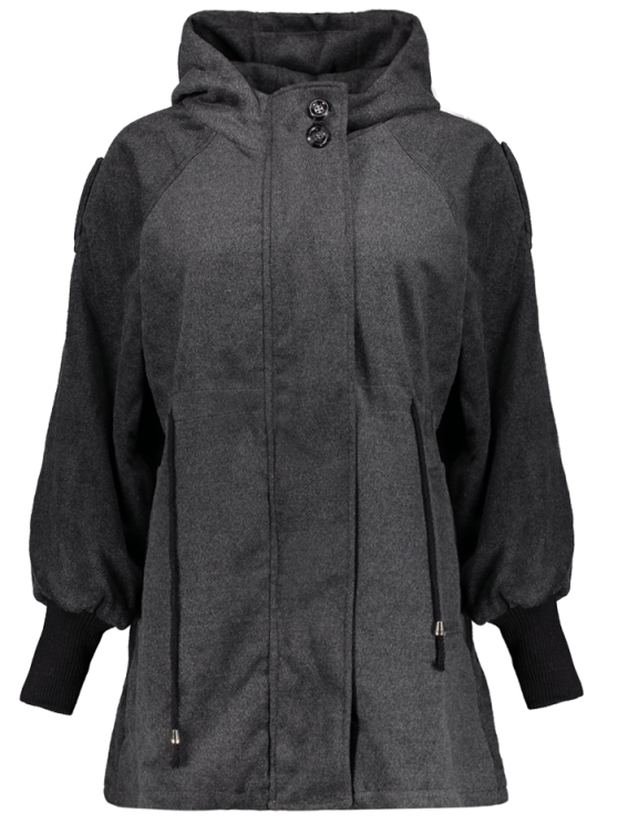 Hooded Wool Coat - DEEP GRAY M Mobile