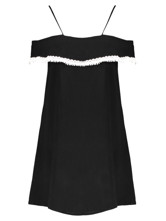 Mini Off The Shoulder Flounce Dress - BLACK S Mobile
