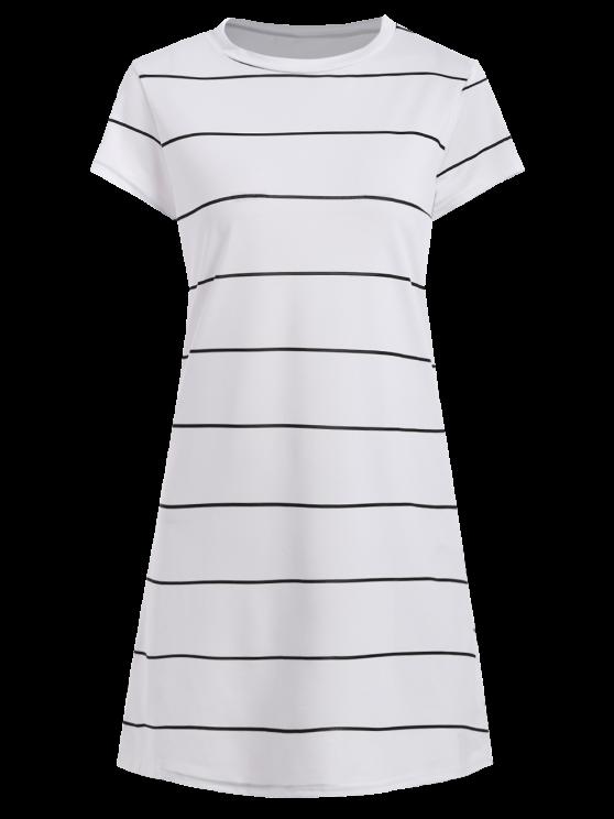Short Sleeve Striped Mini Dress - WHITE S Mobile