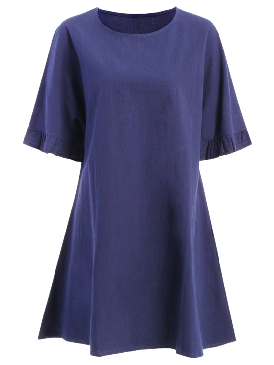 Bell Sleeve A-Line Ruffle Dress - PURPLISH BLUE 2XL Mobile