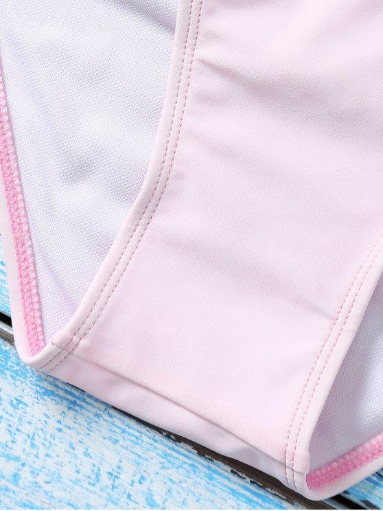 Color Block Underwire Bikini Set - BLUE AND PINK L Mobile