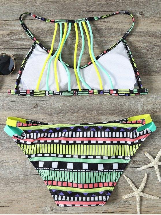 Strappy Tribal Print Bikini - MULTICOLOR S Mobile