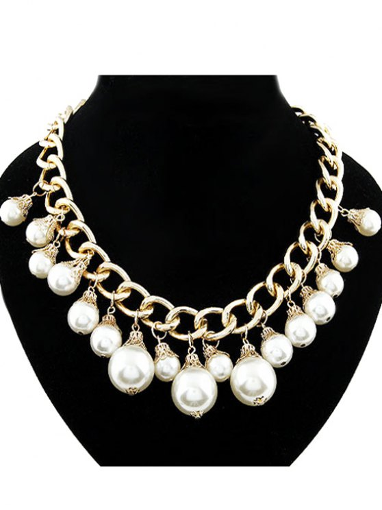 Faux Pearl Hollow Out Chunky Necklace - GOLDEN  Mobile