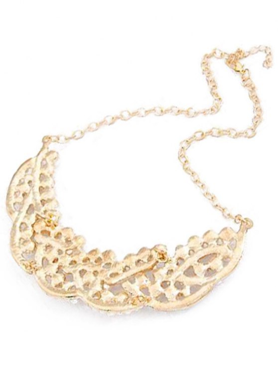 Faux Pearl Hollow Out Statement Necklace - GOLDEN  Mobile