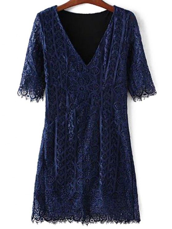 women V-Neck Bodycon Lace Dress - PURPLISH BLUE M