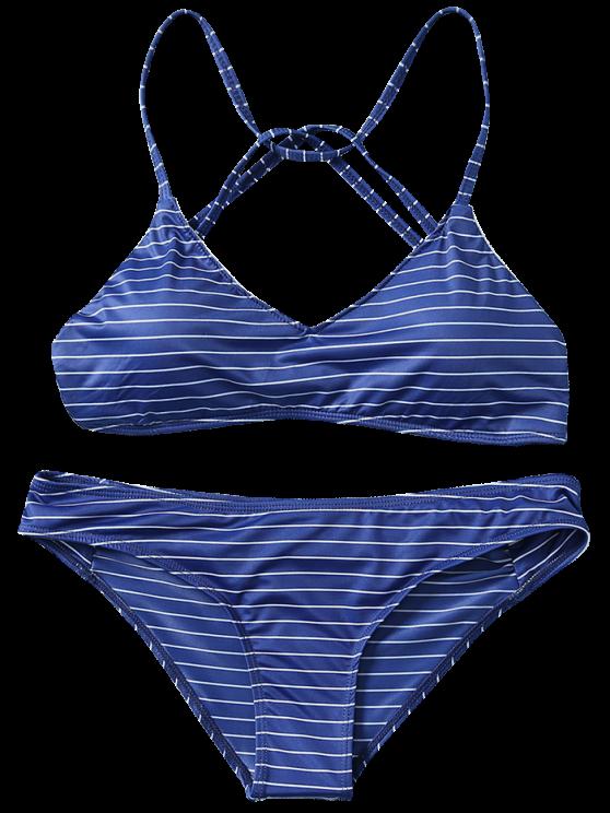 Strappy Bikini Set - PURPLISH BLUE S Mobile
