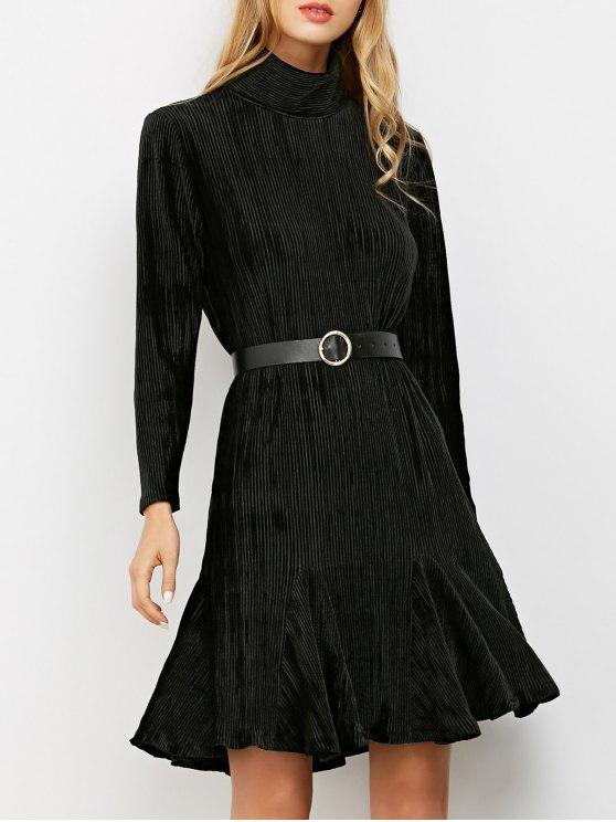 مضلع موك عنق طويل الأكمام الكشكشة اللباس - أسود S