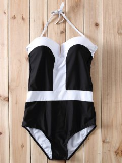 Color Block Bandeau One Piece Swimwear - White And Black M