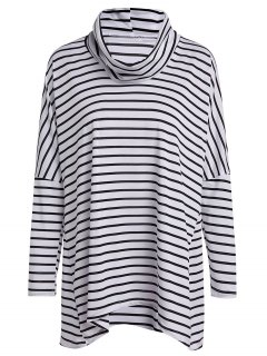 Long Sleeve Striped Loose T-Shirt - White And Black L