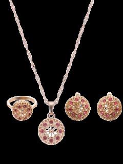 Hollowed Rhinestone Flower Jewelry Set - Golden