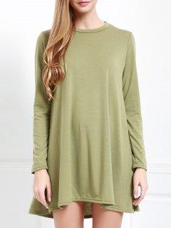 Long Sleeve Open Back Swing Dress - Army Green Xl