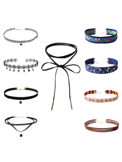 Embroidery Flower Chokers - Black