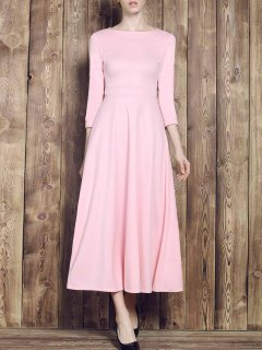 Fit And Flare Maxi Dress - Pink Xl