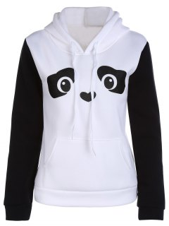 Panda Pattern Hooded Long Sleeve Hoodie - White M
