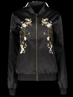 Embroidered Baseball Jacket - Black S