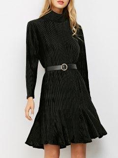 Ribbed Mock Neck Long Sleeve Ruffle Dress - Black S