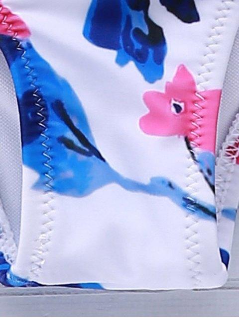 Halter Flower Bralette Mignon Costume de bain - Blanc L Mobile